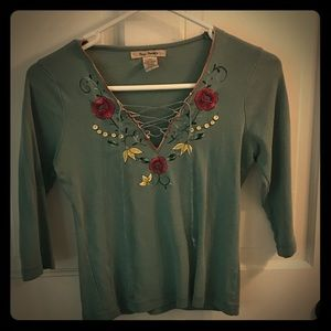 Free People 3/4 sleeve lace-up top in muted aqua